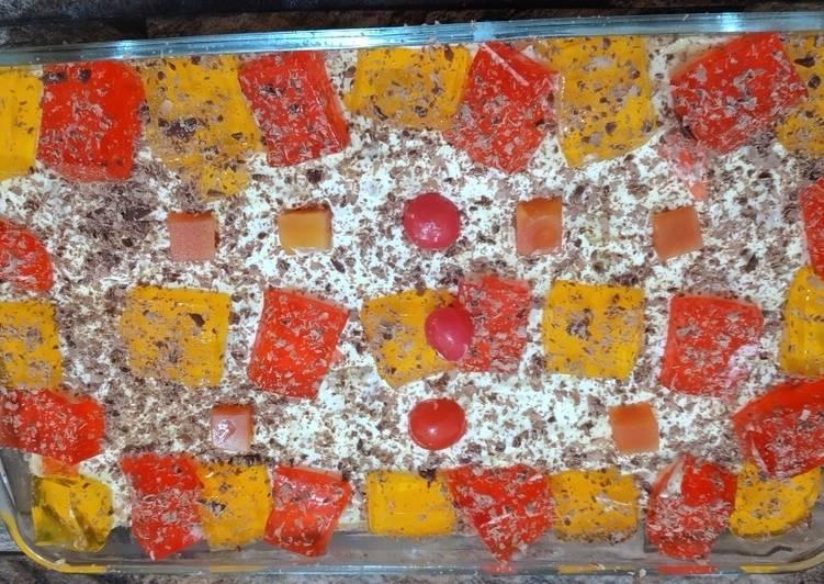 Colourful fruit custard