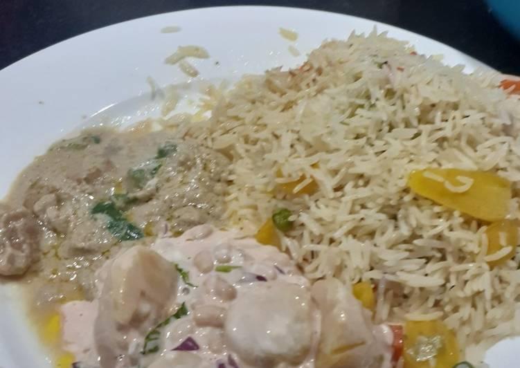 Basmati Rice da miyar gidar kashuna da salad din dakalin turawa