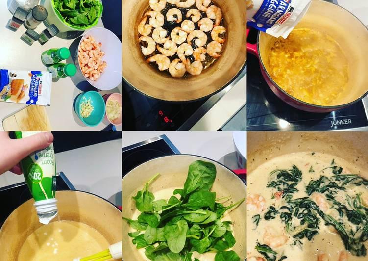 Tagliatelles sauce crémeuse épinard et crevettes