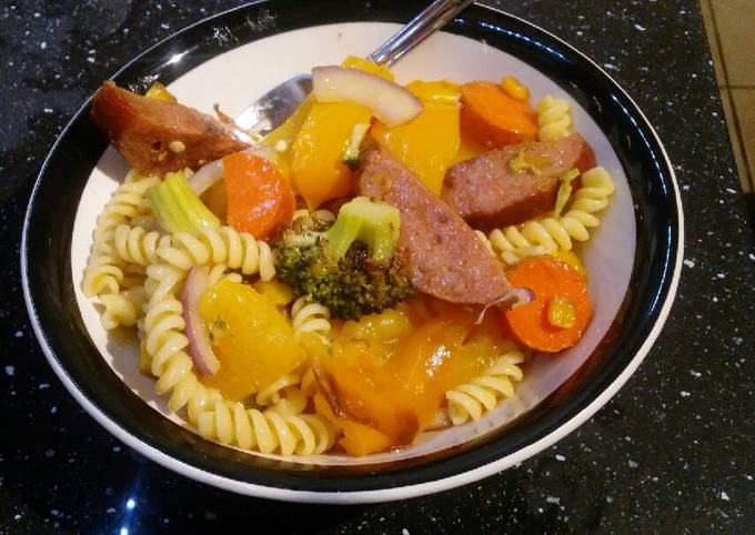 Roasted hot pasta salad
