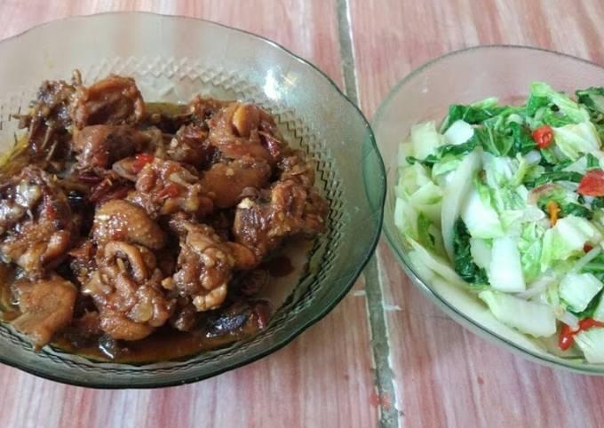 Bahan-bahan Rica Ayam Kecap Feat Oseng Sawi putih Sederhana Untuk Jualan