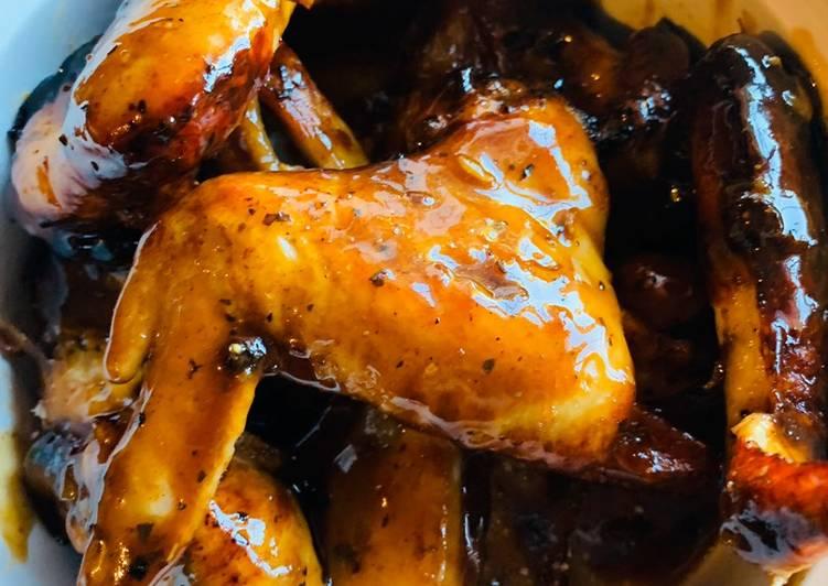 Honey lemon garlic sticky wings