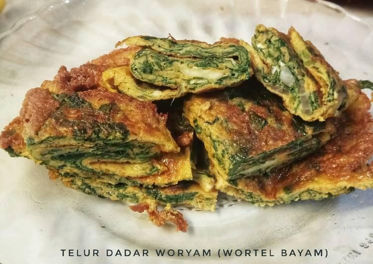 Telur dadar woryam (wortel bayam)