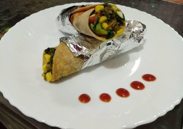 Recipe of Super Quick Homemade Spinach & mix veg wraps