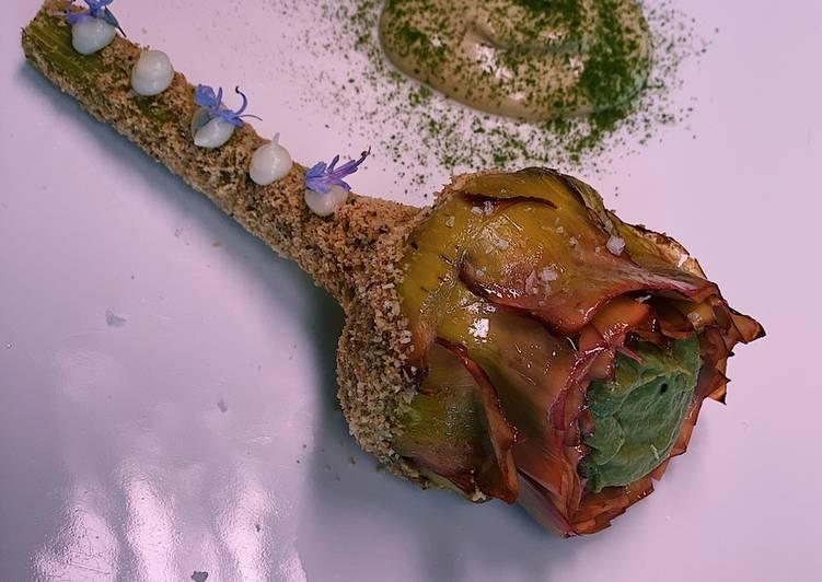 Recipe of Perfect Artichoke with hazelnut flour, garlic purée and artichoke mayonnaise 💚
