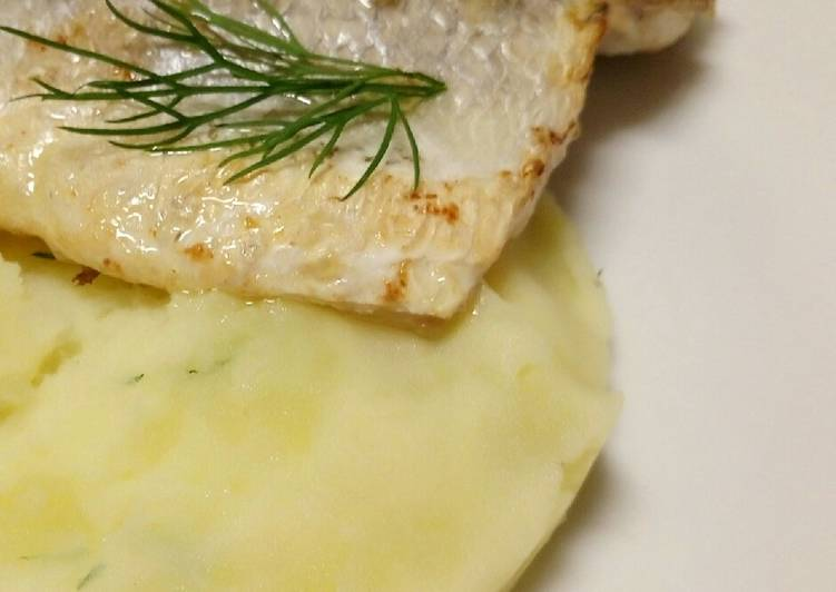 Recipe of Most Popular Pan-fried sea bass on a bed of yoghurt and dill potatoes