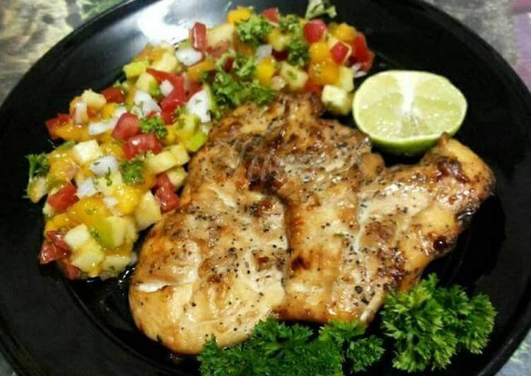 How to Make Any-night-of-the-week Grilled Chicken Steak with Black Pepper and Apple Mango Salsa