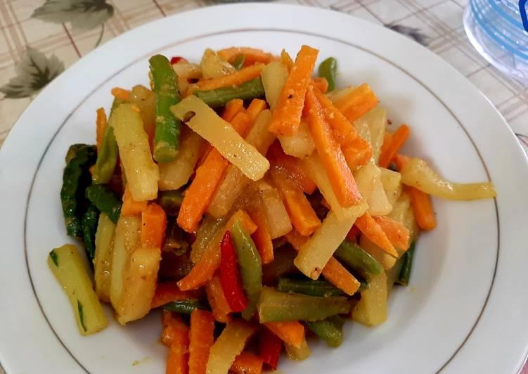 Acar kuning timum wortel buncis tanpa cuka - cookandrecipe.com