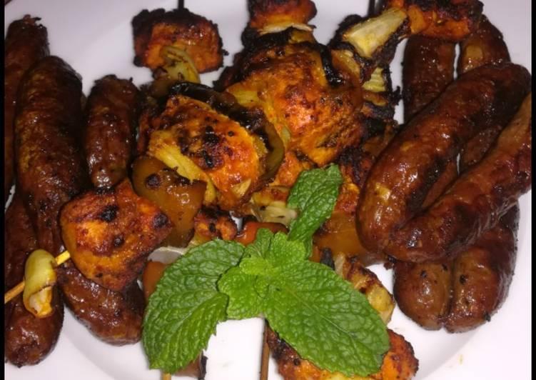 Recipe of Ultimate Chicken tikka skewers 🍗 🍢