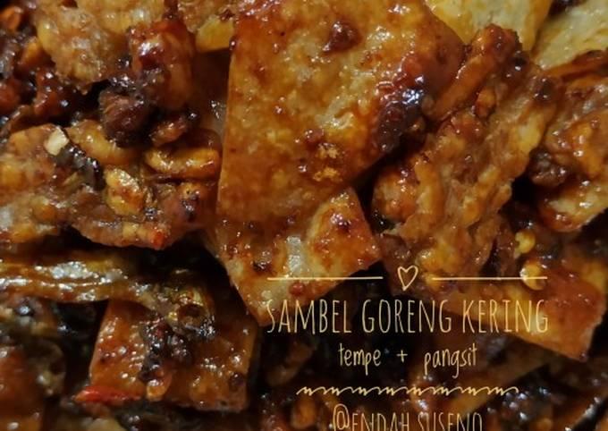 sambel goreng kering tempe + pangsit |masakan rumahan - resepenakbgt.com