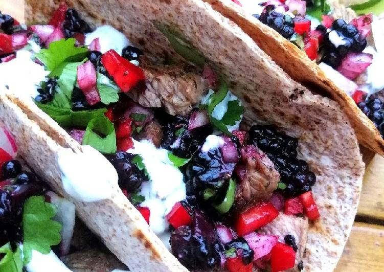 Recipe of Perfect Lamb tacos with blackberry salsa and mint /chives yoghurt sauce