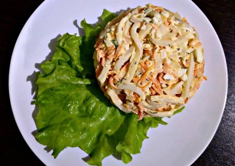 салат из кальмаров пошаговый рецепт