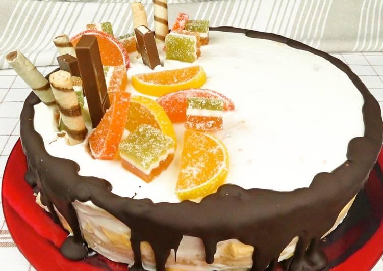торт без выпечки из зефира с печеньем