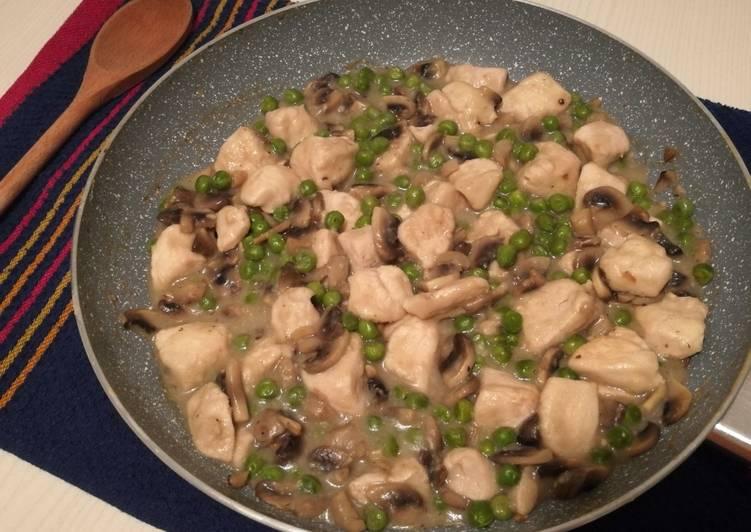 Ricetta Bocconcini di pollo cremosi con funghi e piselli