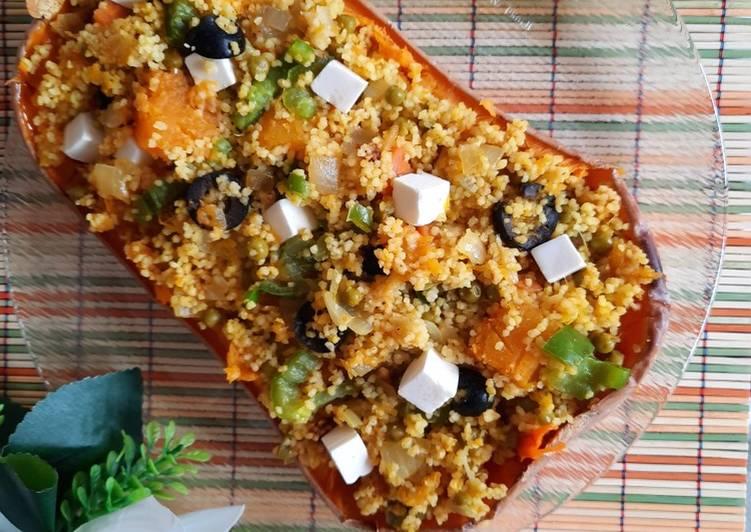 Receta: Delicioso Calabaza asada rellena de cuscús