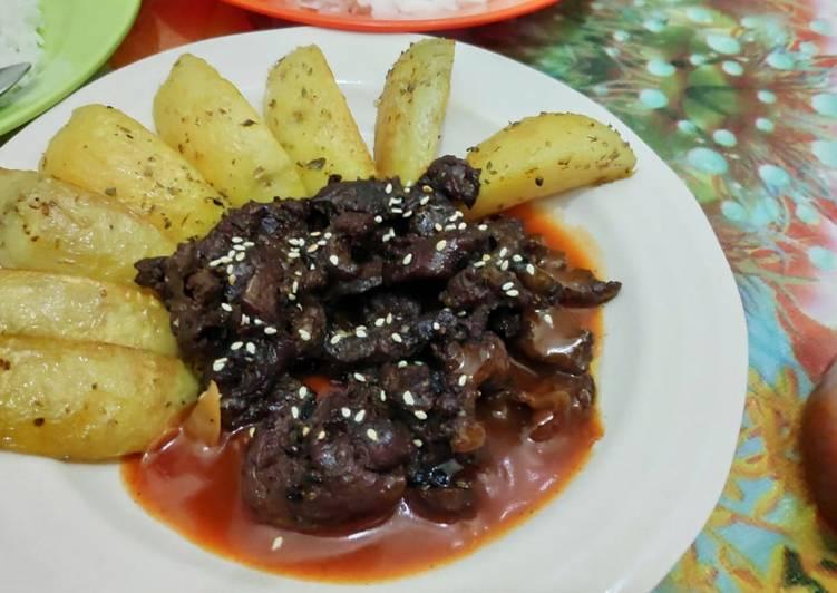 Beef steak slice lada hitam