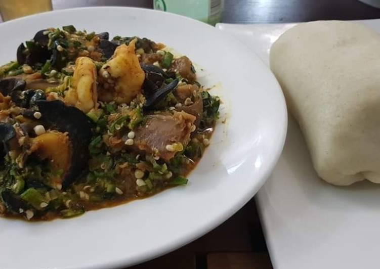Okro soup with snail