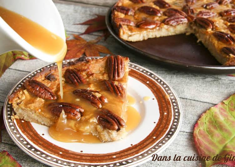 Gâteau très moelleux pommes-noix de pécan et caramel