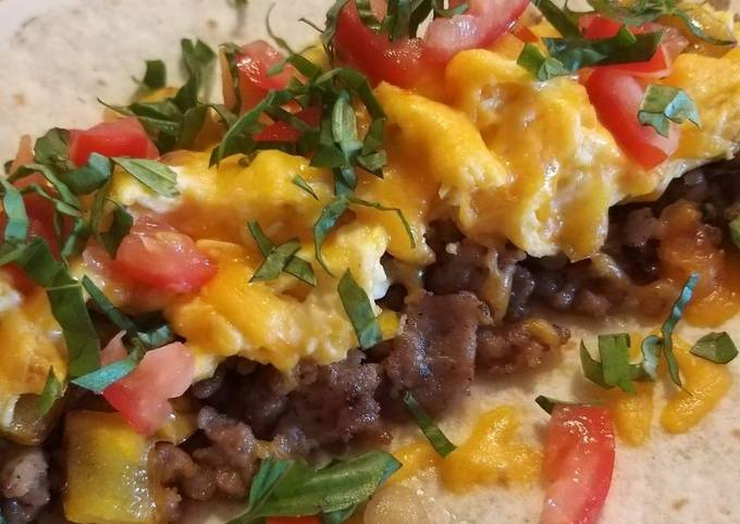 Steps to Prepare Super Quick Homemade Breakfast wrap with Italian sausage