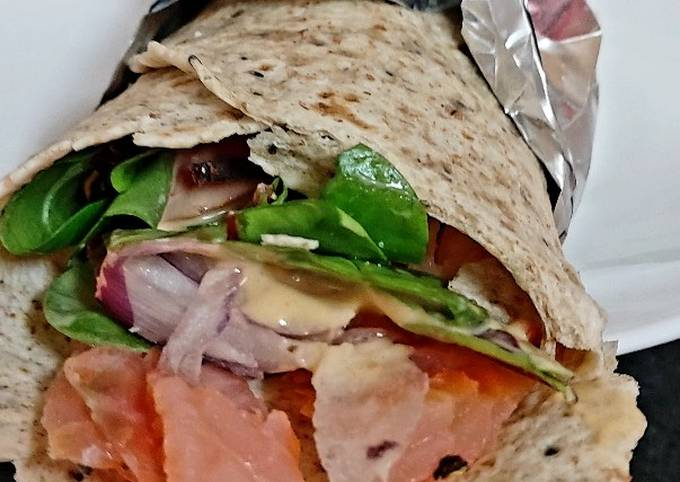 My Salmon + Salad with Healthy Wrap. 😉