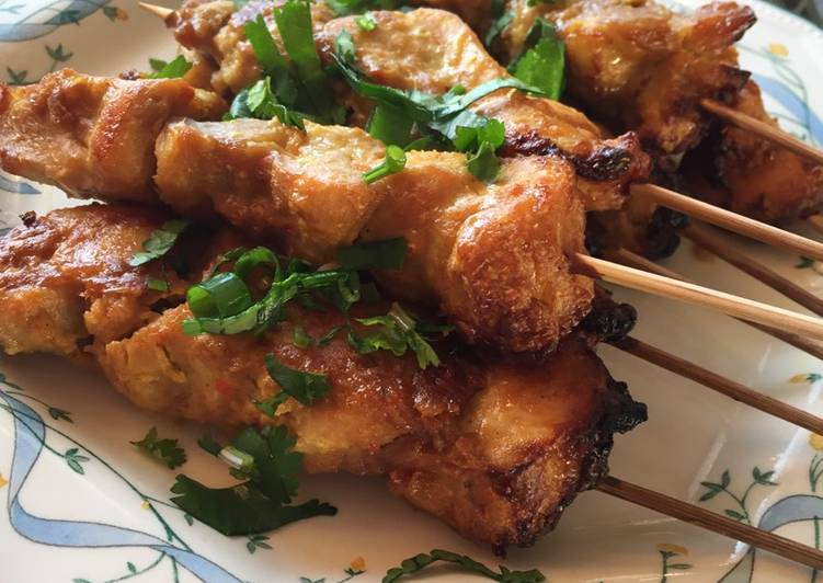 Chicken Satay in Spicy Peanut Butter and Coconut Sauce