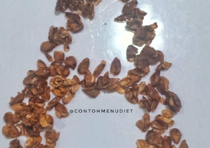 Kulit almond crunchy cemilan sehat kriuk anti kanker