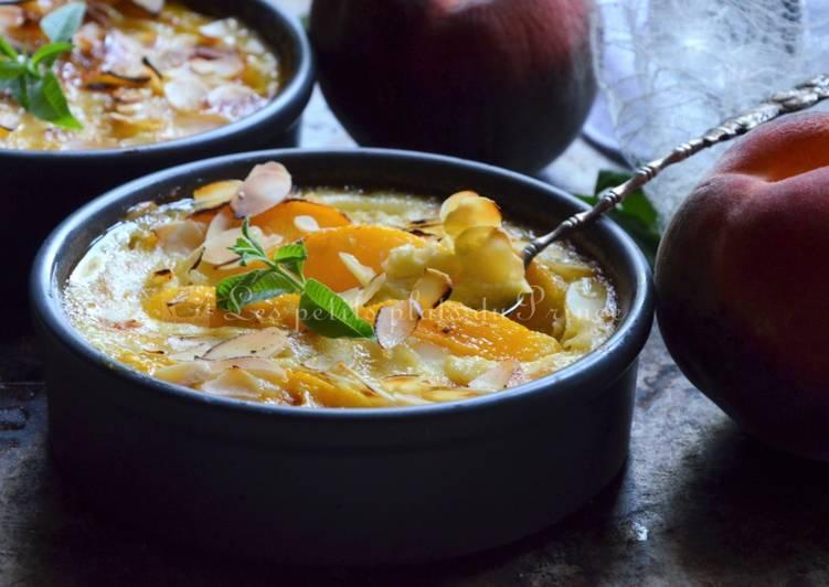La Recette Pas à Pas Flan végétarien à la pêche et au lait de coco