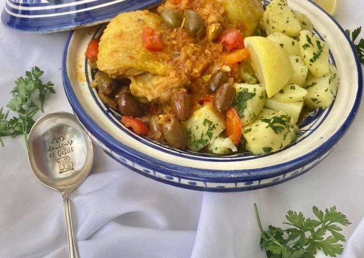 Recette Appétissante Tajine de poulet aux olives