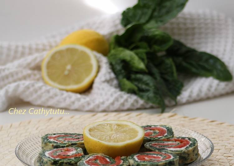Roulé/omelette aux épinards/saumon fumé/chèvre frais