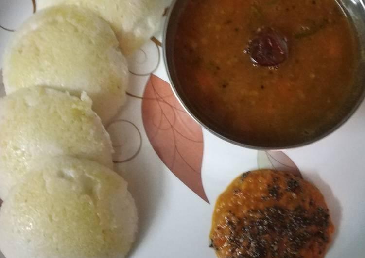 Recipe of Perfect Idli sambar red chutney