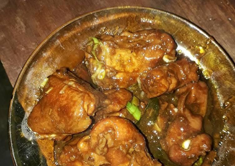 Ayam kecap + daun ubi sambal kosek