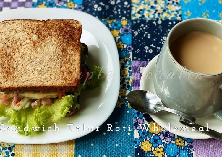 Sandwich Telur Roti Wholemeal (Eat Clean Breakfast)