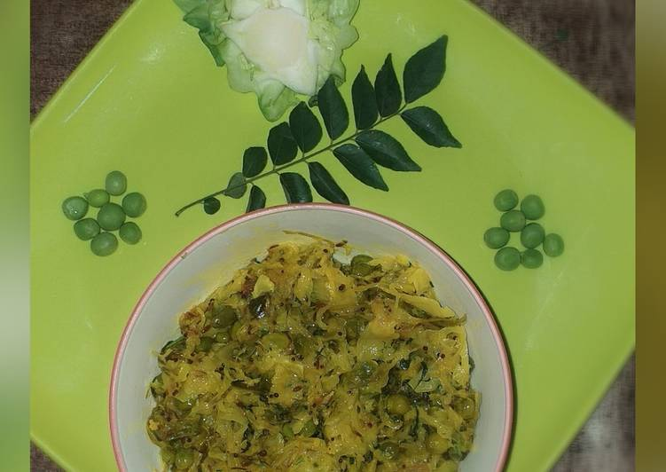 Recipe of Ultimate Cabbage green peas dry curry