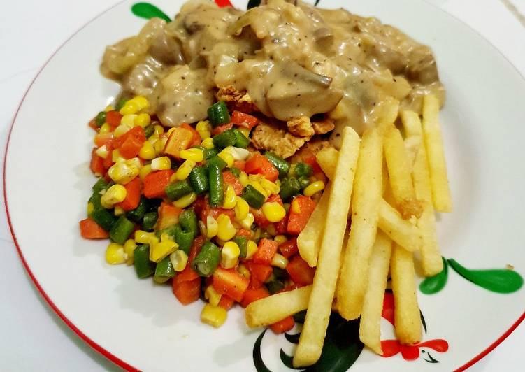 Steak Ayam saos Jamur ala Tin