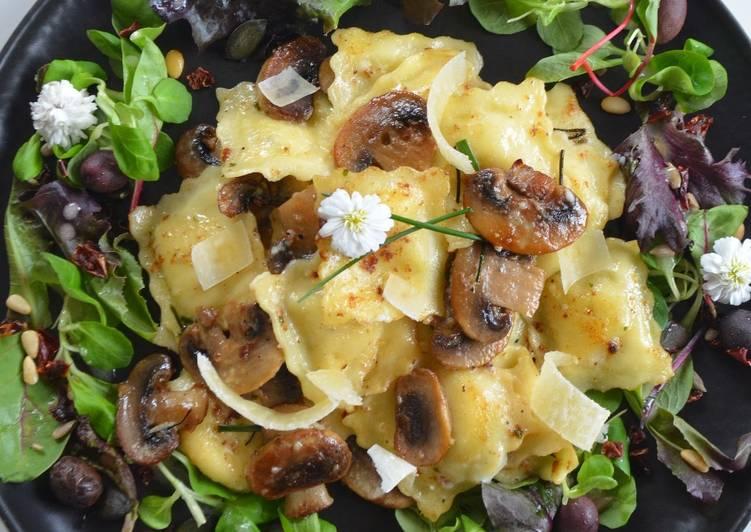 Raviolis 4 fromages aux champignons