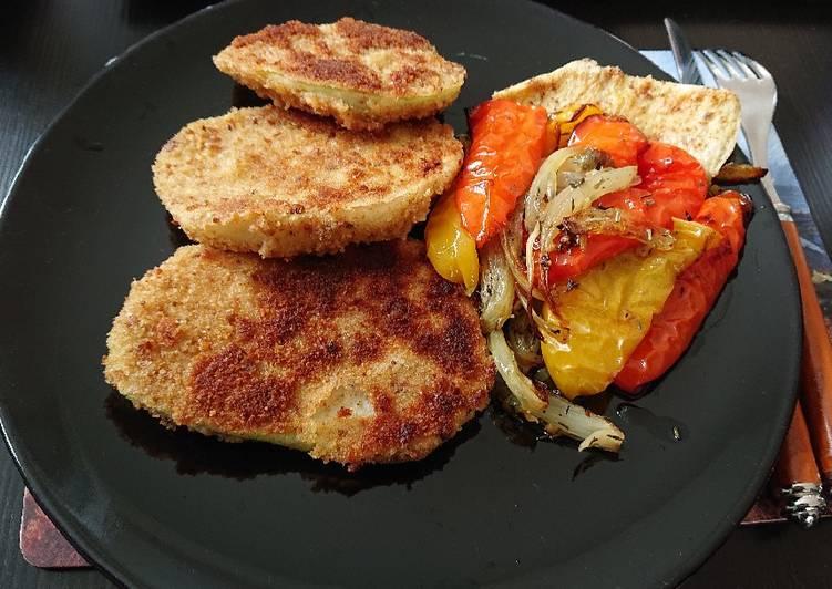 Kohlrabischnitzel mit Ofengemüse