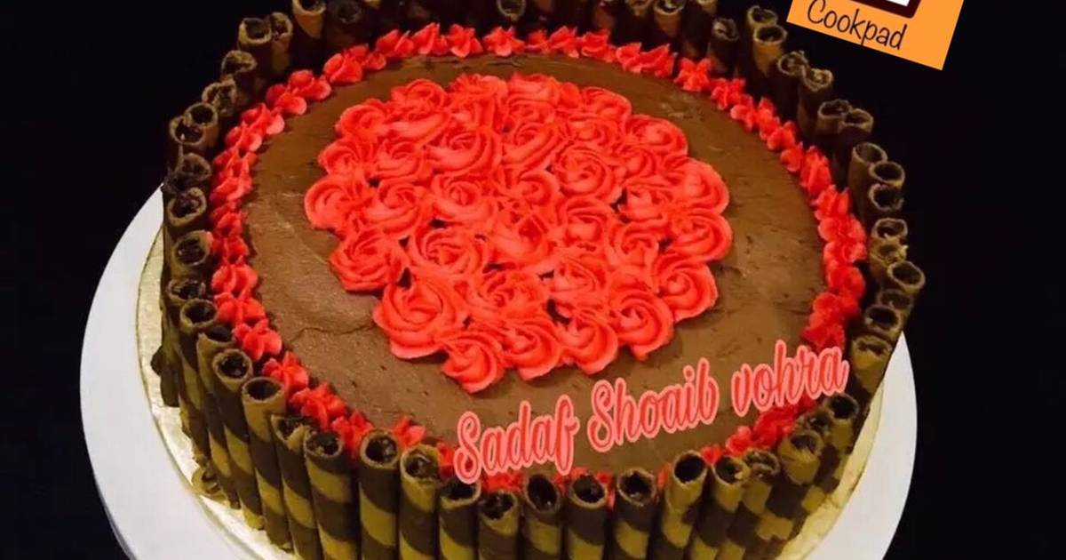 Fantastic Moist Layered Chocolate Cake Recipe By Sadaf Shoaib Vohra Cookpad Personalised Birthday Cards Beptaeletsinfo