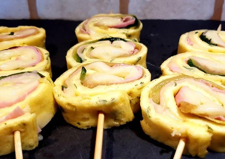 Ricetta Rotolini di frittata con zucchine grigliate, prosciutto cotto e