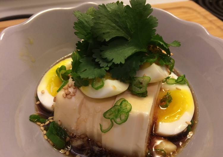 Silky tofu and half boiled egg with special sauce