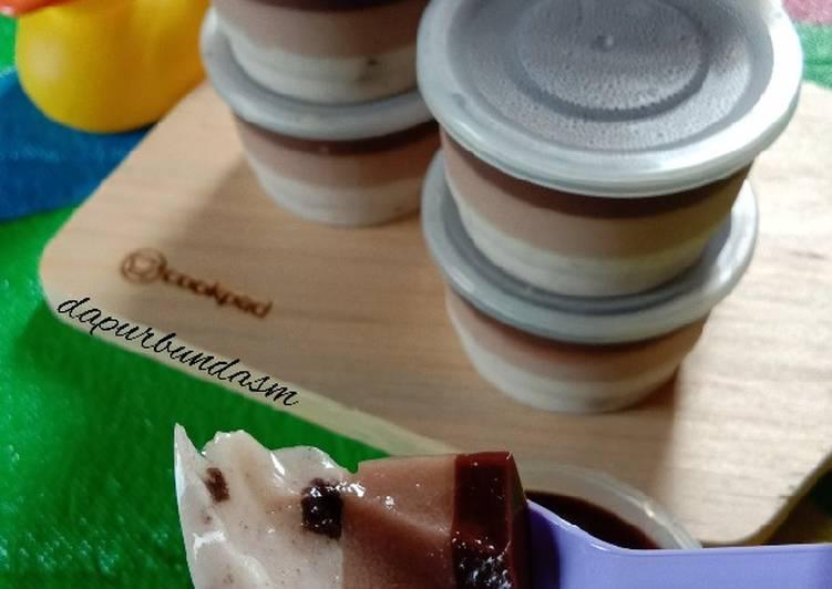 Puding lapis oreo milo coklat