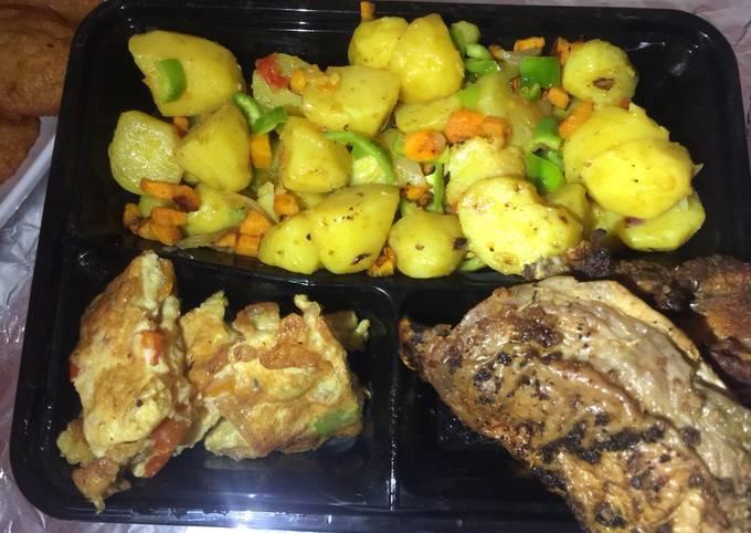 Stir fry potatoes,egg rolls&grilled chicken