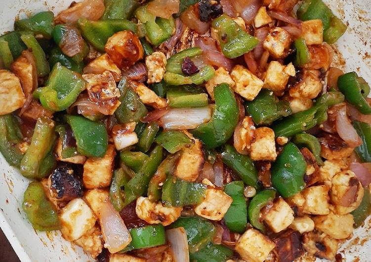 Stir fried Paneer with peppers