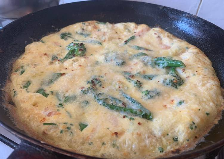 How to Make Perfect Smoked salmon and Tenderstem broccoli (or asparagus) frittata