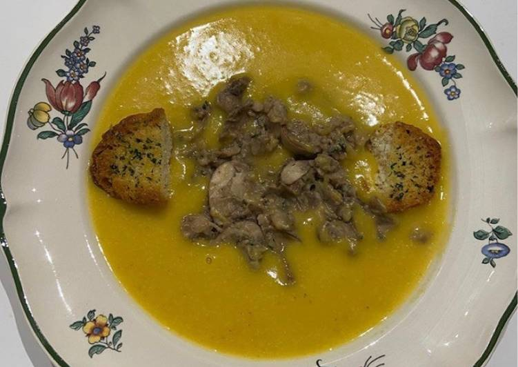 Soupe butternut et champignons et marrons