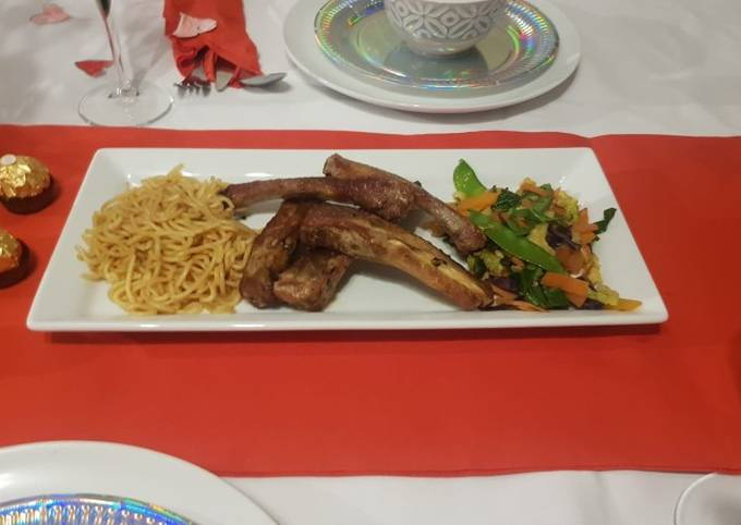 Pork Ribs, Noodles and mixed vegetables