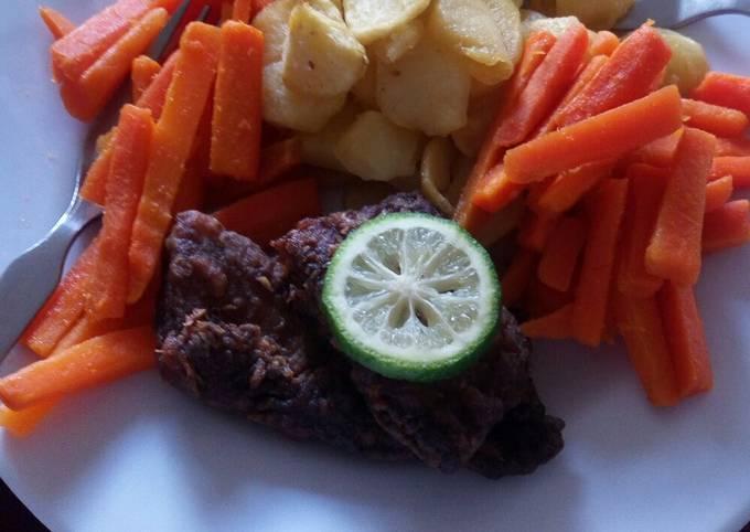 Fish potato buttered carrots