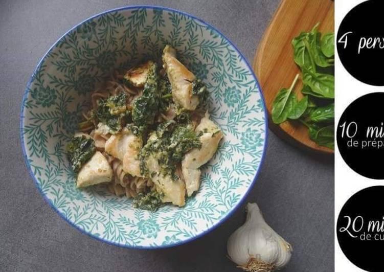 Poulet crémeux au parmesan et épinards