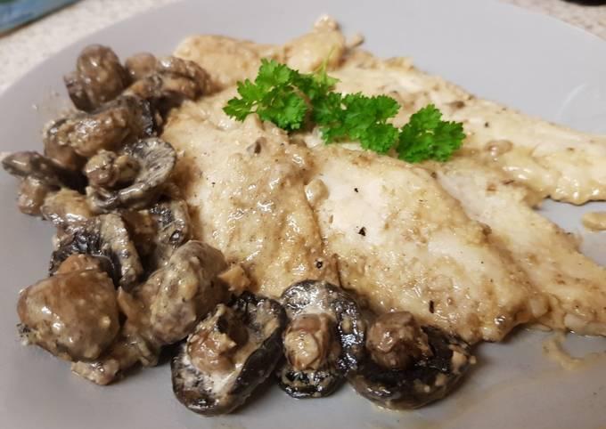 My Buttered Garlic + Lemon Haddock Fillets with Mushroom