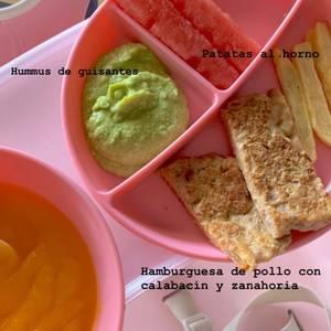 BLW ideas (Burger de pollo con calabacín y zanahoria y hummus de guisantes)