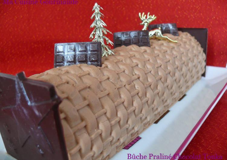 Recette Délicieux Bûche Praliné Chocolat et Tonka